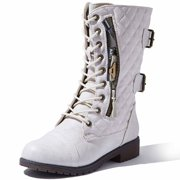 DailyShoes Women's Military Lace Up Buckle Combat Boots Mid Knee High Exclusive Quilted Credit Card Pocket, Quilted Ivory White Pu, 7 B(M) US