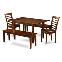 East West Furniture Picasso 5 Piece Straight Ladderback Dining Table Set with 2 Benches