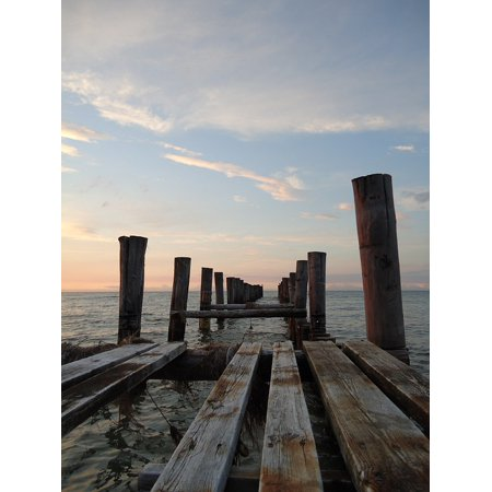Canvas Print Wooden Posts Web Sea Water Baltic Sea Holiday Stretched Canvas 10 x