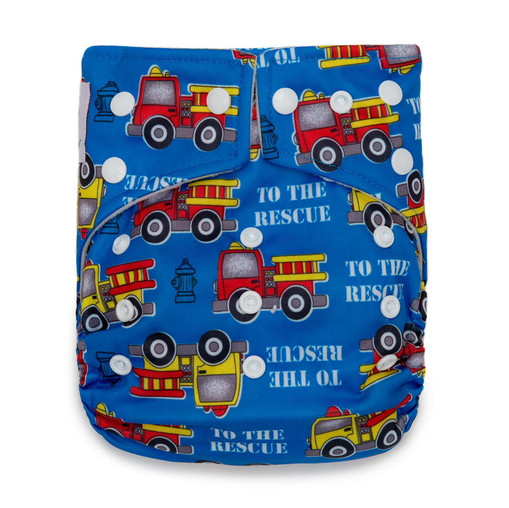 Kawaii Baby Good Night Heavy Wetters Reusable Cloth Diaper One Size 2 Microfiber Inserts Firetruck