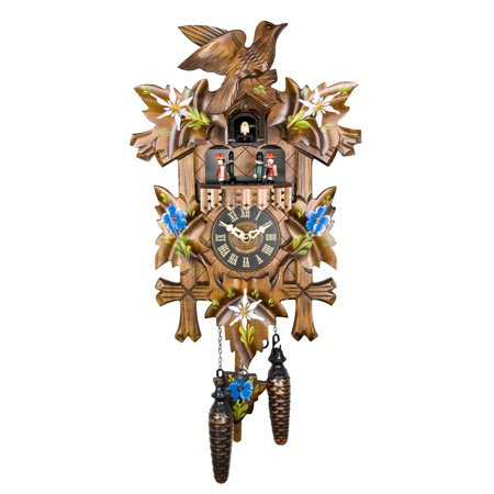 Cuckoo Clock 1 Day Chalet - Black Forest 1 Day Chalet Style Musical Cuckoo Clock with Hand Painted Carvings