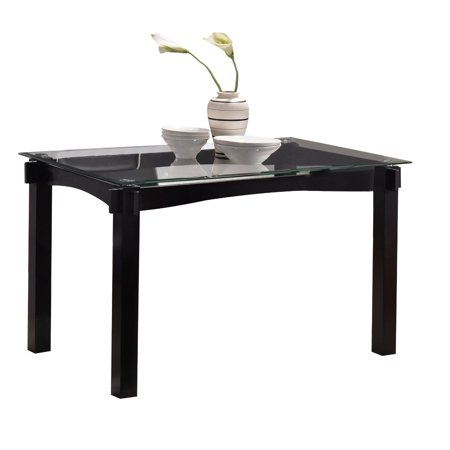 Eugene Kitchen Dining Table, Cappuccino Wood & Beveled Glass Top Transitional, 47