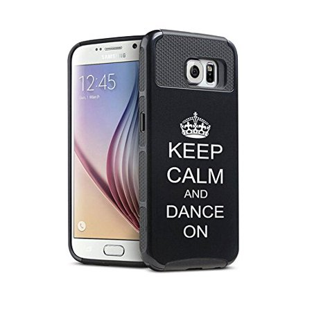 Samsung Galaxy S6 Shockproof Impact Hard Case Cover Keep Calm and Dance On with Crown (Black),MIP