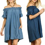 Womens Summer Off The Shoulder Slash Neck Bardot Denim Look Shirt Dress Tops
