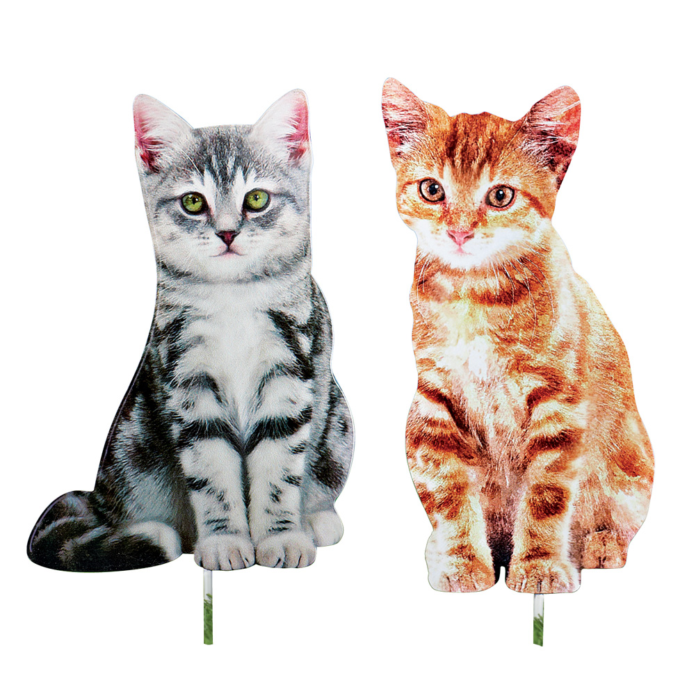 Decorative Cat Outdoor Metal Yard Stakes - Set of 2