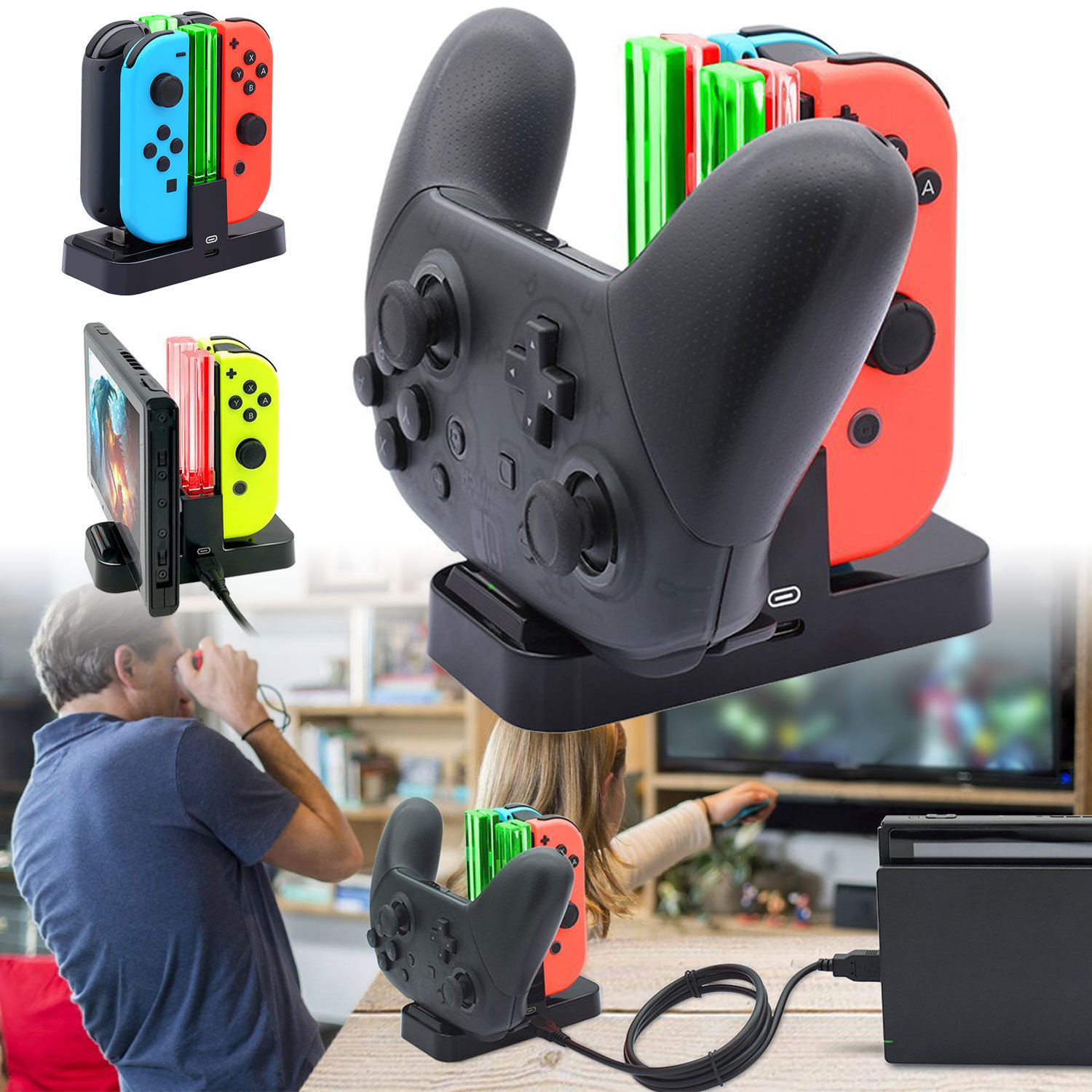 Controller Charger Stand Desktop Charging Dock for Nintendo Switch Joy-Con Pro