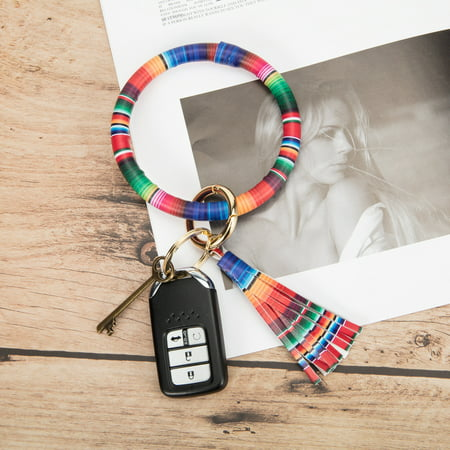 NK HOME Wristlet Round Key Ring Chain Leather Oversized Bracelet Bangle Keychain Holder Tassel for Women Girl Greek Key Leopard