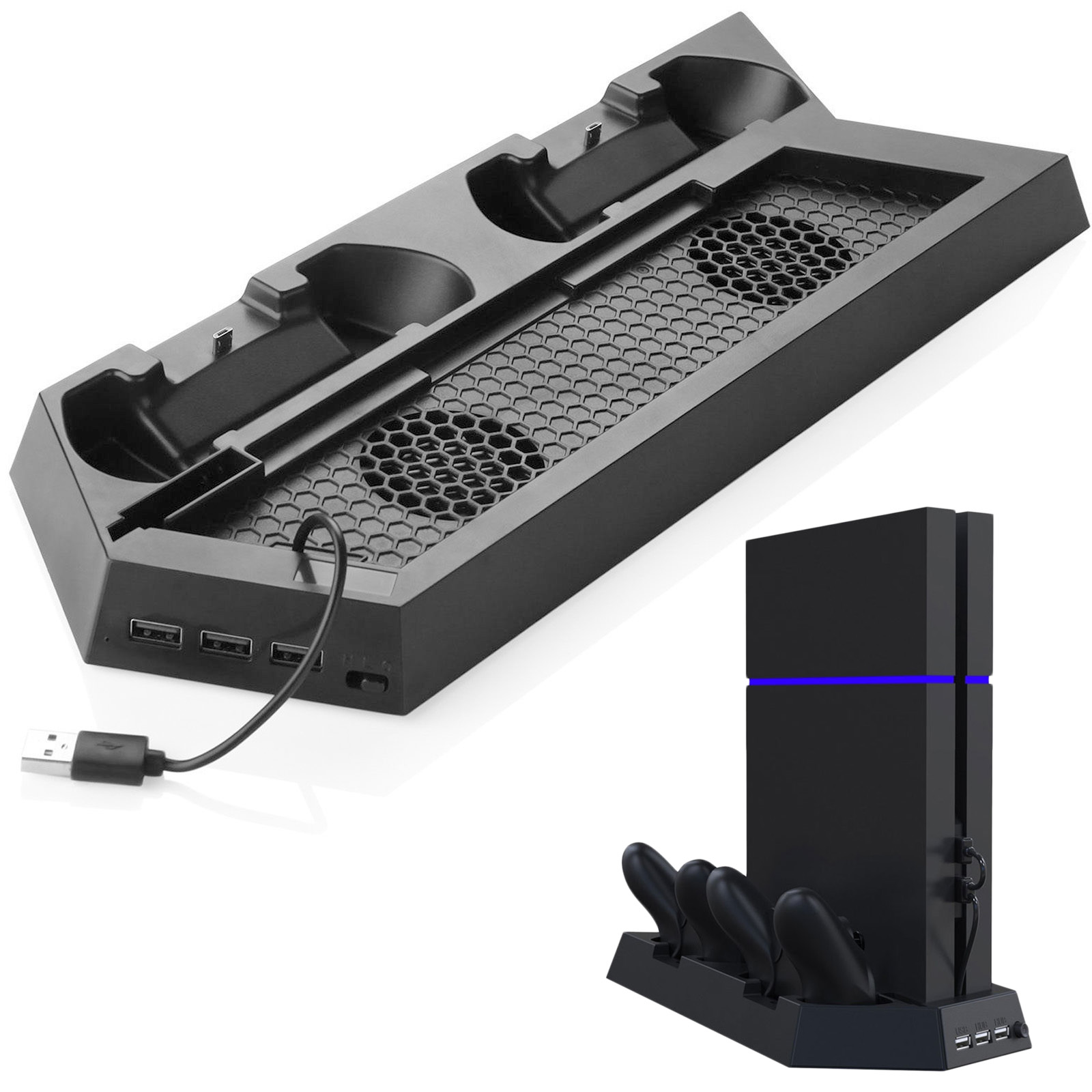 EEEkit Vertical Stand with Cooling Fan for PS4 PlayStation 4, Controllers Charging Station with 2pcs Charging Stand Controllers, 3 USB Hubs, 2pcs High Speed Fans