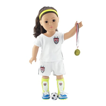 18 Inch Doll Clothes | Team USA-Inspired 8 Piece Soccer Uniform, Including Shirt, Shorts, Socks, Ball, Shin Guards, Headband, Gold Medal and Soccer Shoes/Cleats | Fits American Girl Dolls (Uniform Soccer Team)