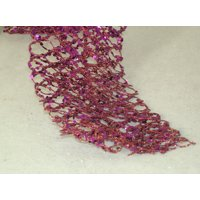 5' Sugared Fruit Decorative Purple Glittered & Wired Unlit Net Christmas Garland
