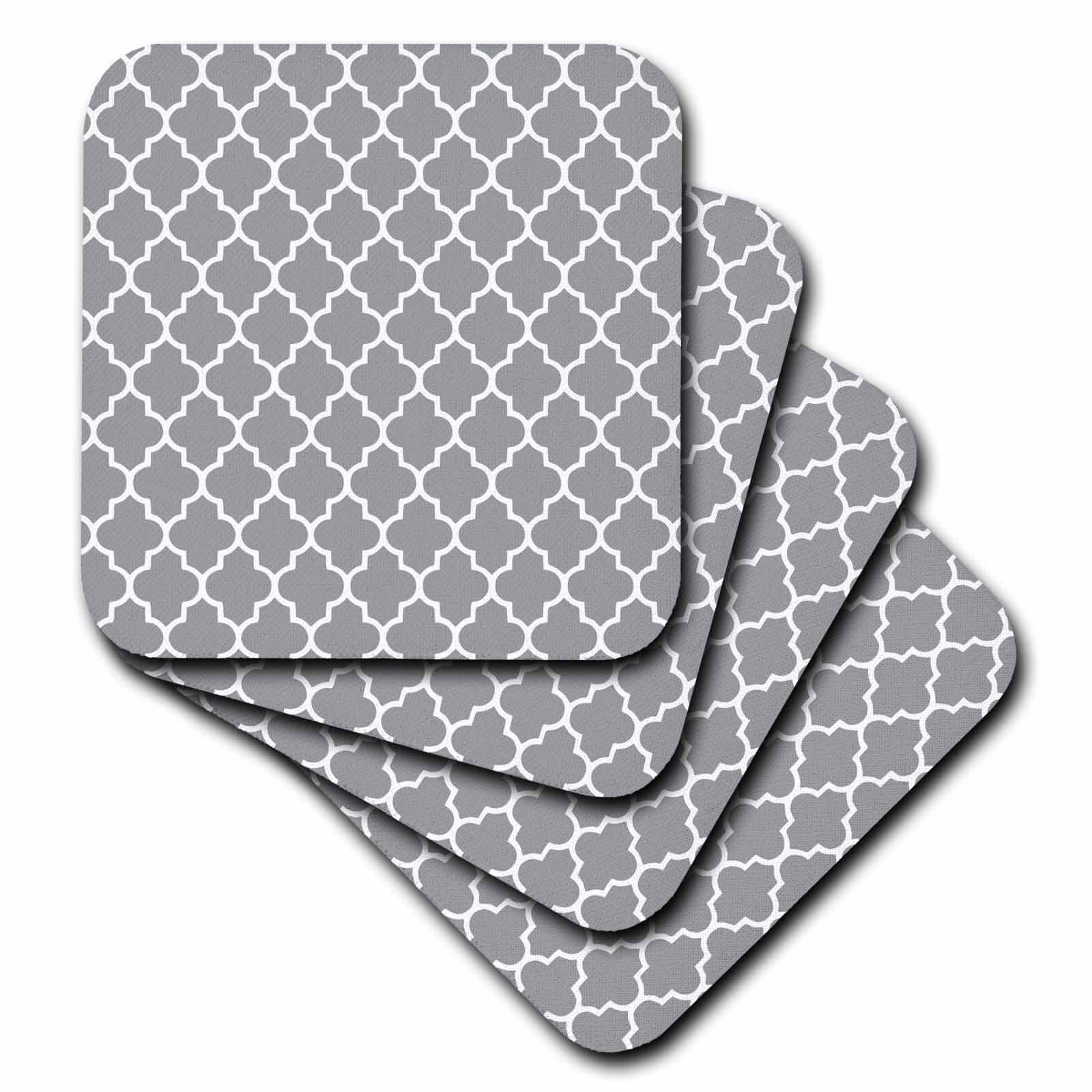 3dRose Dark gray quatrefoil pattern - grey Moroccan tiles - modern stylish geometric clover lattice, Soft Coasters, set of 8