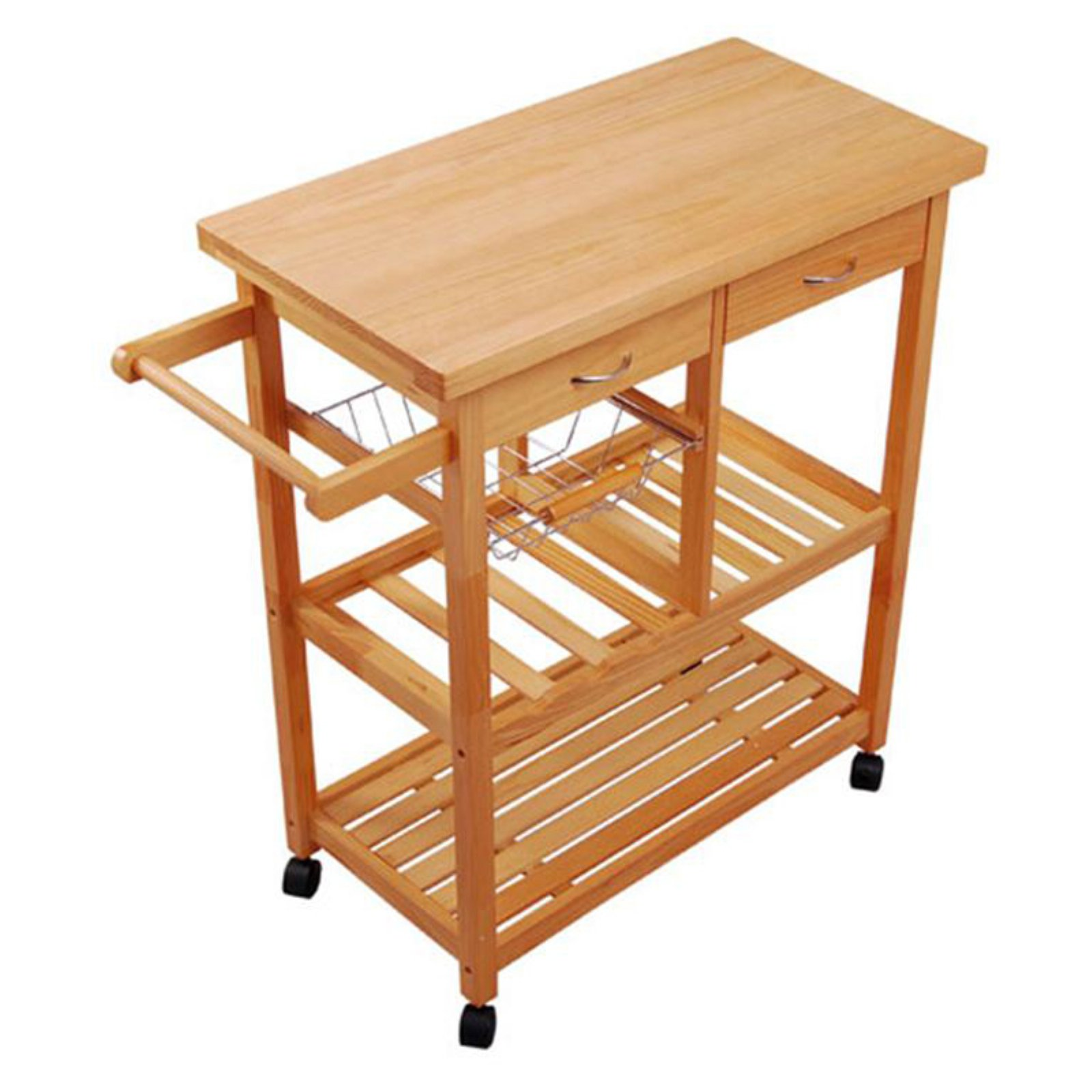 HomCom Portable Wooden Rolling Storage Cart Kitchen Trolley With Drawers