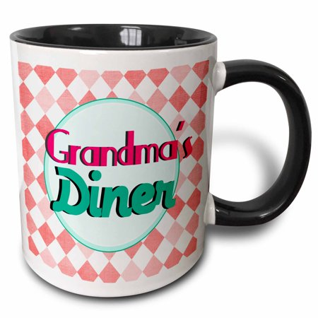 3dRose Grandmas Diner sign on retro coral red - hot pink turquoise teal 1950s style 50s fifties Grandmother - Two Tone Black Mug,