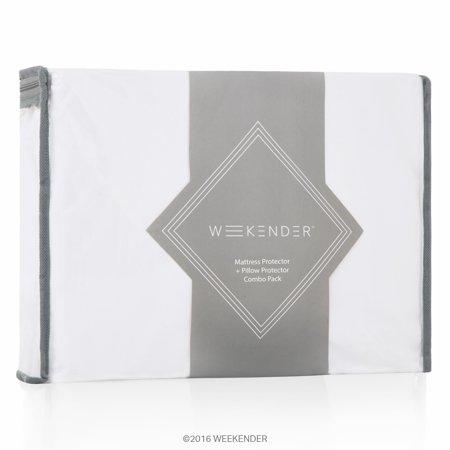 Pillow Mattress Cover - Weekender Fitted Jersey Mattress Protector with Bonus Pillow Protectors
