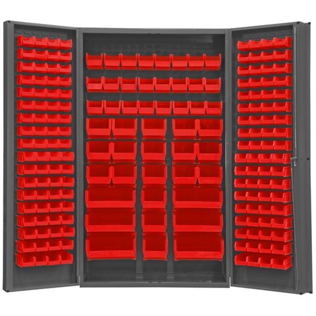 14 Gauge Deep Style Lockable Double Door Cabinet with 192 Red Hook on Bins, Gray - 48 in.