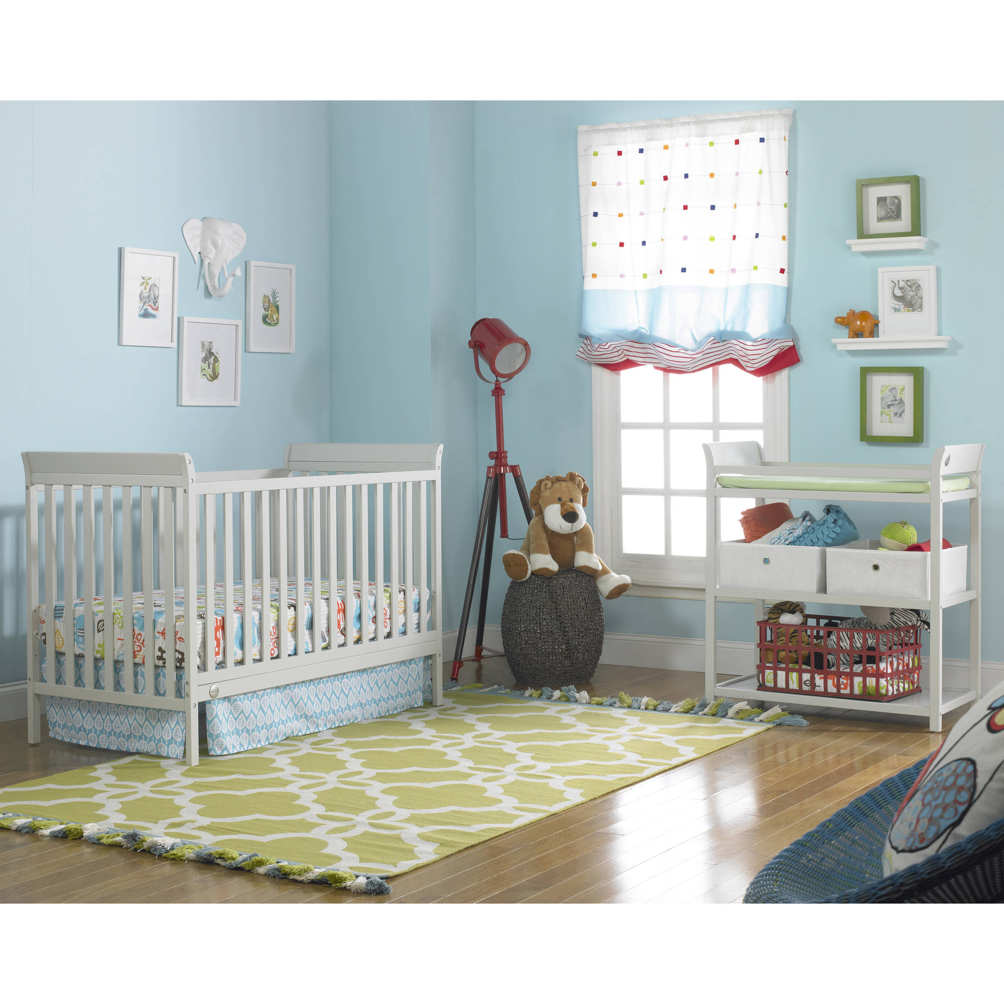 Fisher-Price 5-Piece Nursery Furniture Set with Bonus Mattress, Misty Grey