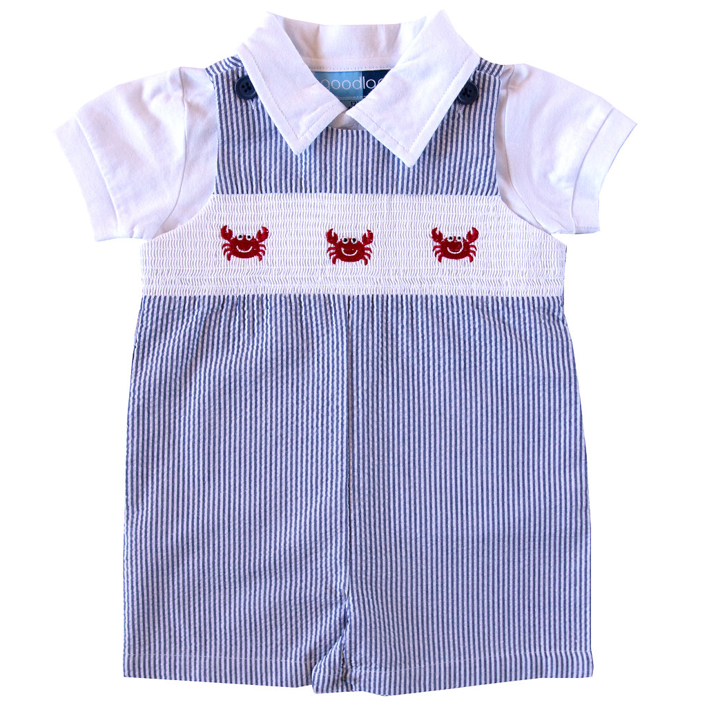 Good Lad Newborn//Infant Girls Red Seersucker Dress with Classic Nautical Collar and Matching Panty