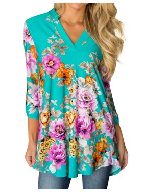 Nlife Women Bohemian 3/4 Sleeve V Neck Floral Print Shirt
