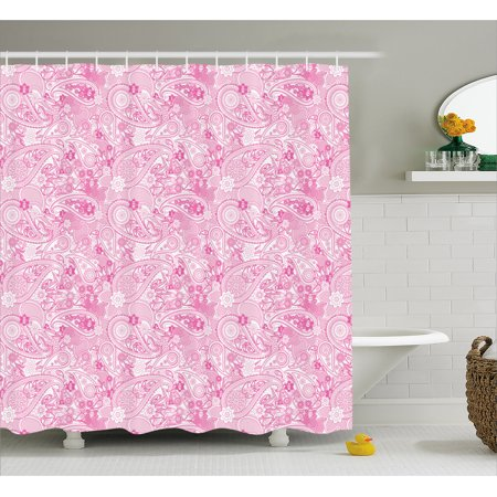 Paisley Shower Curtain Asian Models Inspired Design With Flowers And Leaf Circled Shapes Image Print