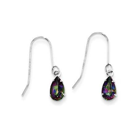 Pear Shaped Mystic Fire Topaz Dangle Earrings in 14k White