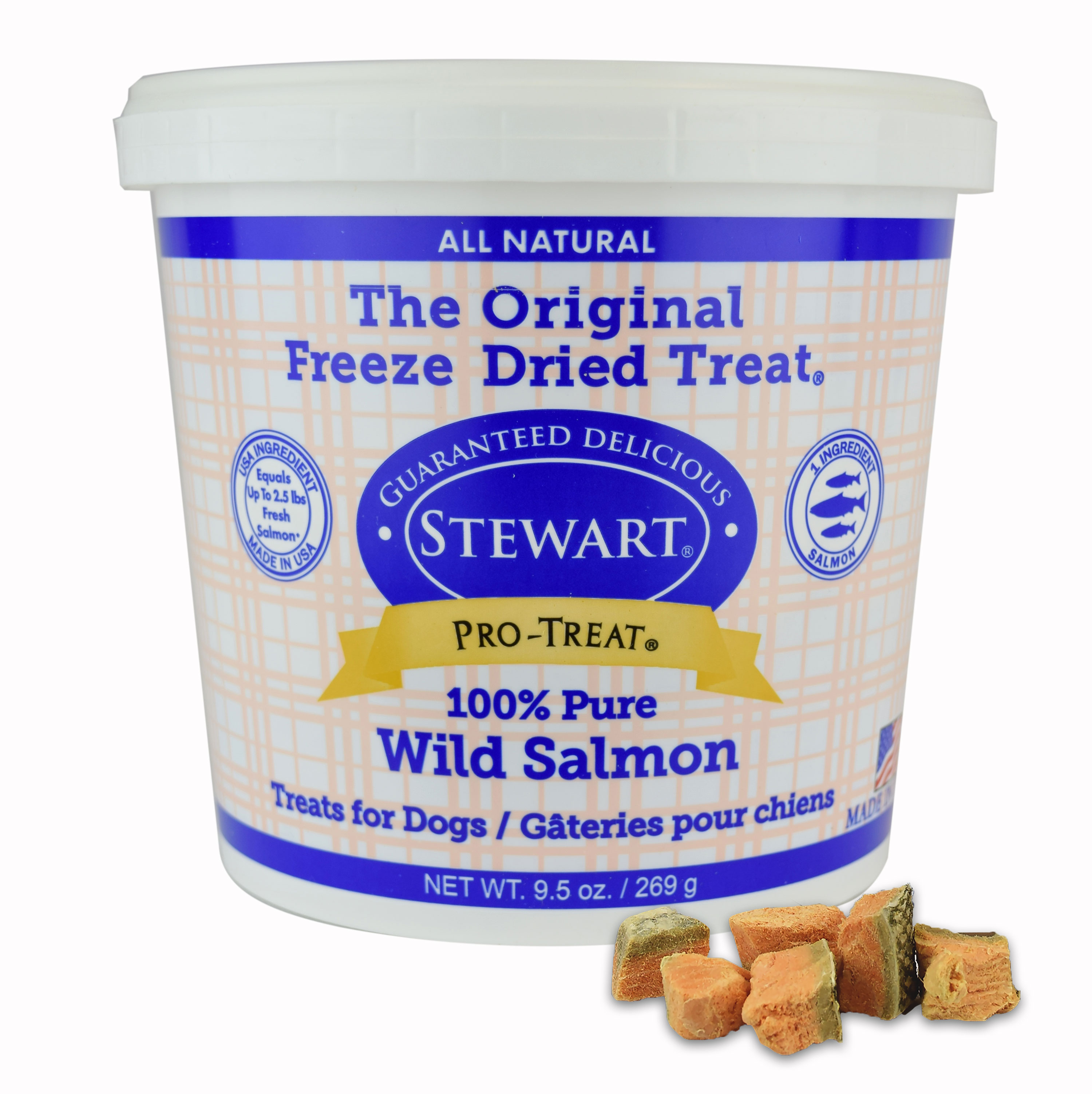 Stewart Freeze Dried Wild Salmon by Pro-Treat, 9.5 oz. Tub