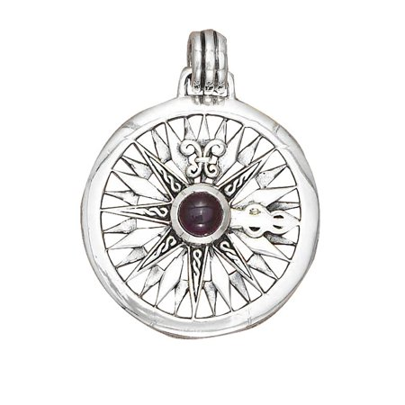 "Sterling Silver 16"" .8mm Box Chain Large Compass Rose Amethyst Gemstone Pendant Necklace"