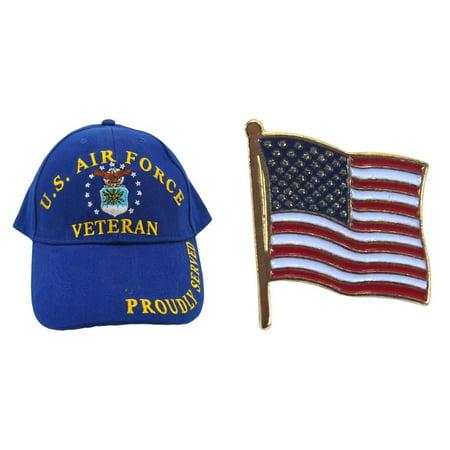 USAF United States Air Force Veteran Blue Hat Cap & American Flag Lapel Pin