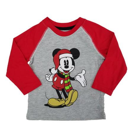 Disney Christmas Shirt Designs.Disney Infant Toddler Boys Gray Red Classic Mickey Mouse Christmas Shirt