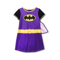 Batgirl Girls Nightgown with Cape (Little Kid/Big Kid), Costume Cape Purple, Size: 6-6X