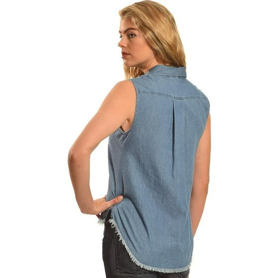 bd78b654655 Derek Heart - Derek Heart Women s Sleeveless Denim Button Down Shirt ...