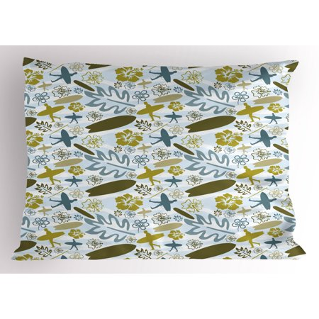 Luau Pillow Sham Beach with Silhouette of Surfer Waves and Exotic Plant Summer Theme, Decorative Standard Size Printed Pillowcase, 26 X 20 Inches, Olive Green Khaki Slate Blue, by - Dark Blue Skate