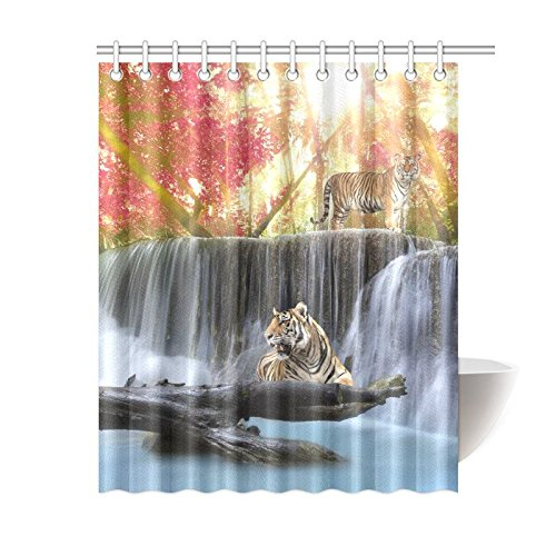 GCKG Fantastic Landscape Shower Curtain Tigers In Jungle Polyester Fabric Bathroom Sets 60x72 Inches
