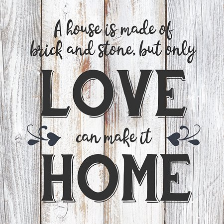 Love can make it Home Rustic Farmhouse Style White Wood Sign Wall Décor Gift 8 x 8 Wood Sign B3-08080001015 ()