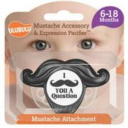 Ulubulu Black Detachable Mustache Pacifier, 6-18 Months, Single Pack