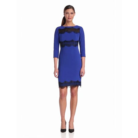 Donna Morgan Women's 3/4 Sleeve Sheath Dress with Lace Inset Details At Neckline Waist and Hem, Royal Cobalt, 10 ()