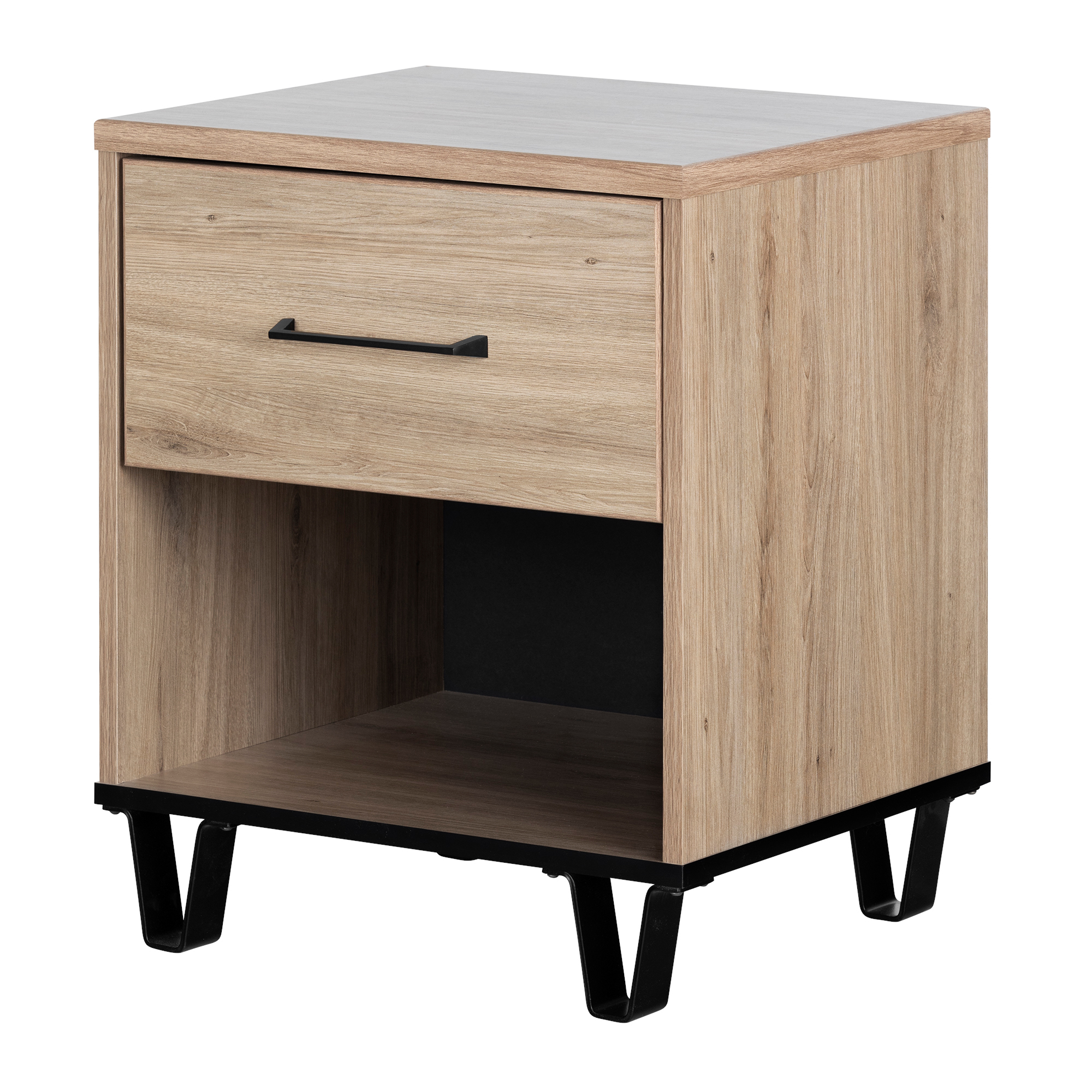 South Shore Fakto 1 Drawer Nightstand, Rustic Oak