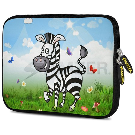 Universal 9.7 - 10.5 inch Tabet Case, Premium Padded ShockProof Designer iPad Samsung Tab eBook Tablet Sleeve Case with Pack of 60 Zeiss Pre-Moistened Lens Cleaning Wipes - Lexi Zebra (Zeiss Optics Protective Case)