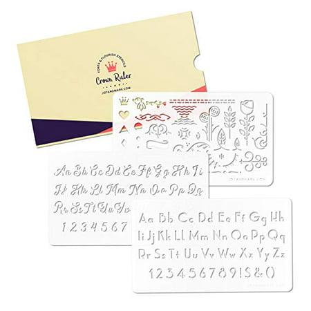 Jot & Mark Crown Ruler Fonts & Flourishes Stencils | for Scrapbooking, Invitations, Envelopes | Includes 3 Templates
