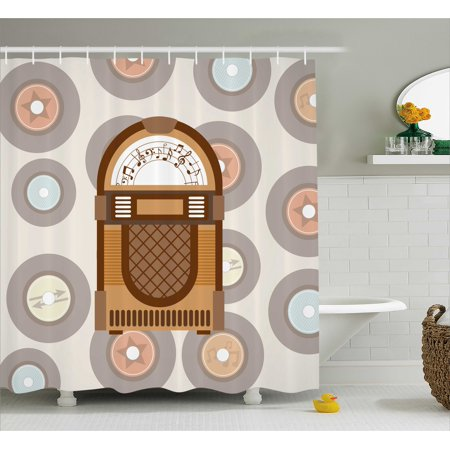 Jukebox Shower Curtain, Pick Up Music with Vintage Abstract Long Players Backdrop, Fabric Bathroom Set with Hooks, 69W X 75L Inches Long, Brown Pale Coffee Grey and Peach, by (Best Music Player For Windows 8)