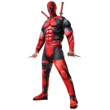 Mens Deluxe Deadpool Costume - Standard One-Size - Mens Superhero Costumes