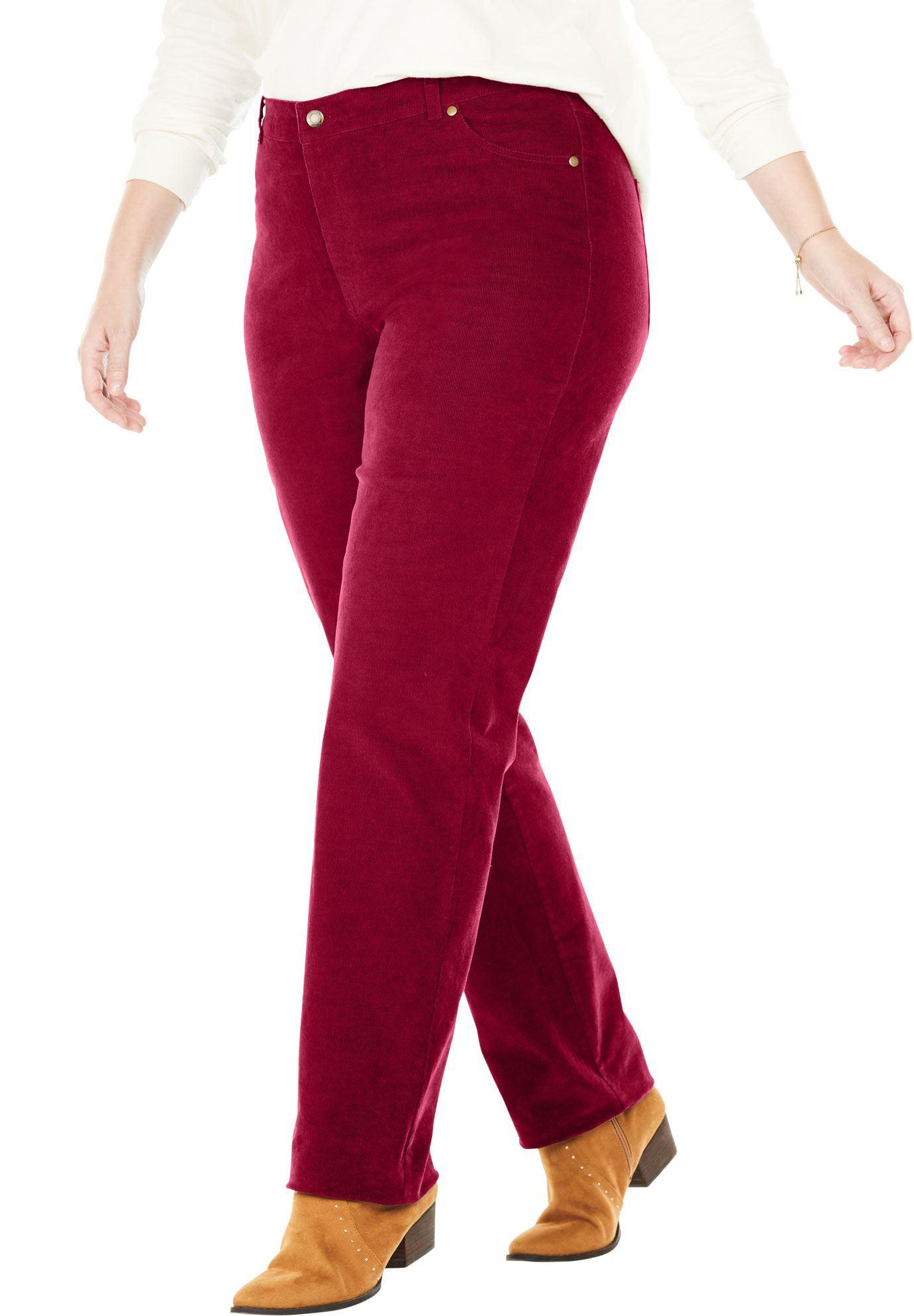Woman Within Plus Size Tall Corduroy Straight Leg Stretch Pant