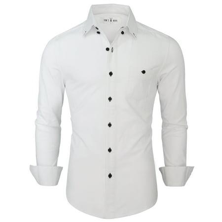 TAM WARE Mens Stylish Contrast Chest Pocket Long Sleeve Dress Shirt