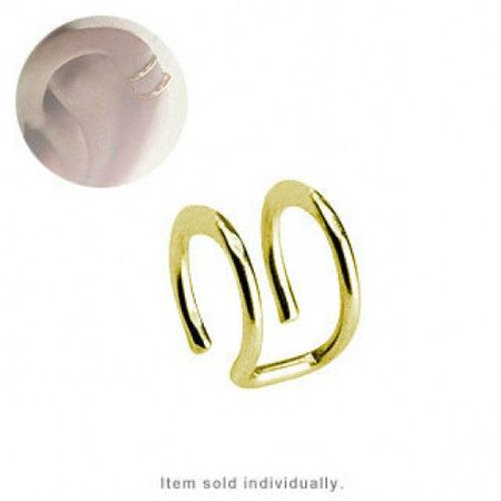Cartilage Double Closure Ring Gold Plated Fake Clip-On EC-55