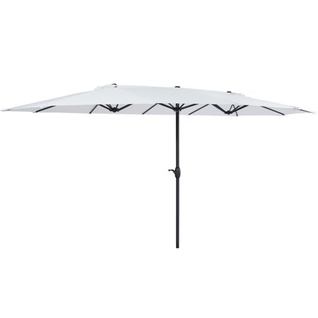 Best Choice Products 15x9ft Large Rectangular Outdoor Aluminum Twin Patio Market Umbrella w/ Crank, Wind Vents for Backyard, Patio, Lawn - White](U Is For Umbrella)