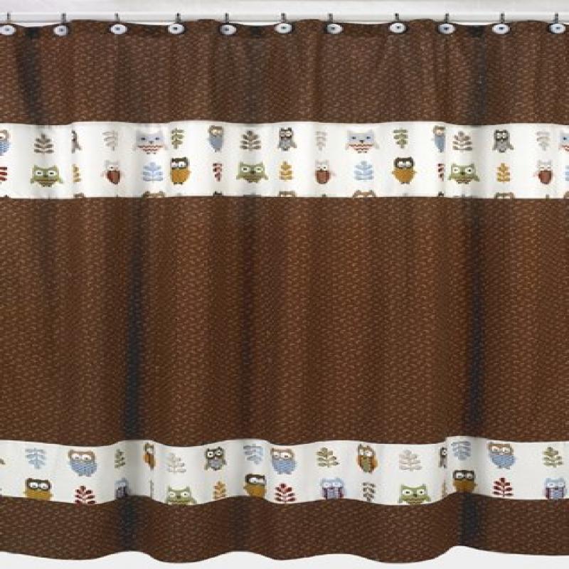 Night Owl Kids Bathroom Fabric Bath Shower Curtain by Sweet Jojo Designs by