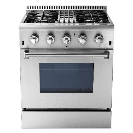 """Thor Kitchen 30"""" Dual Fuel Freestanding Gas Ranges with Oven, HRD3088U in Stainless Steel/Silver CSA certified Convection Oven"""