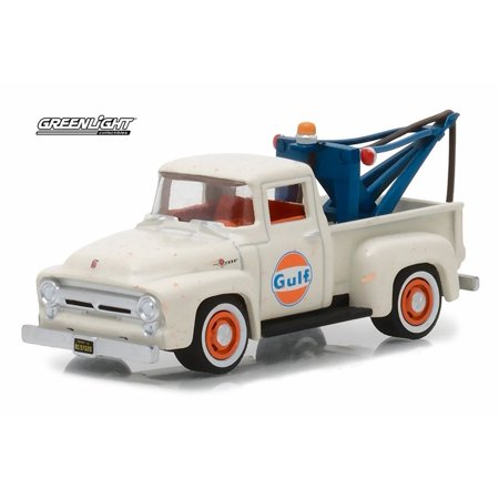 1956 Ford F-100 Pickup Gulf Oil, Cream White - Greenlight 41040/48 - 1/64 Scale Diecast Model Toy Car