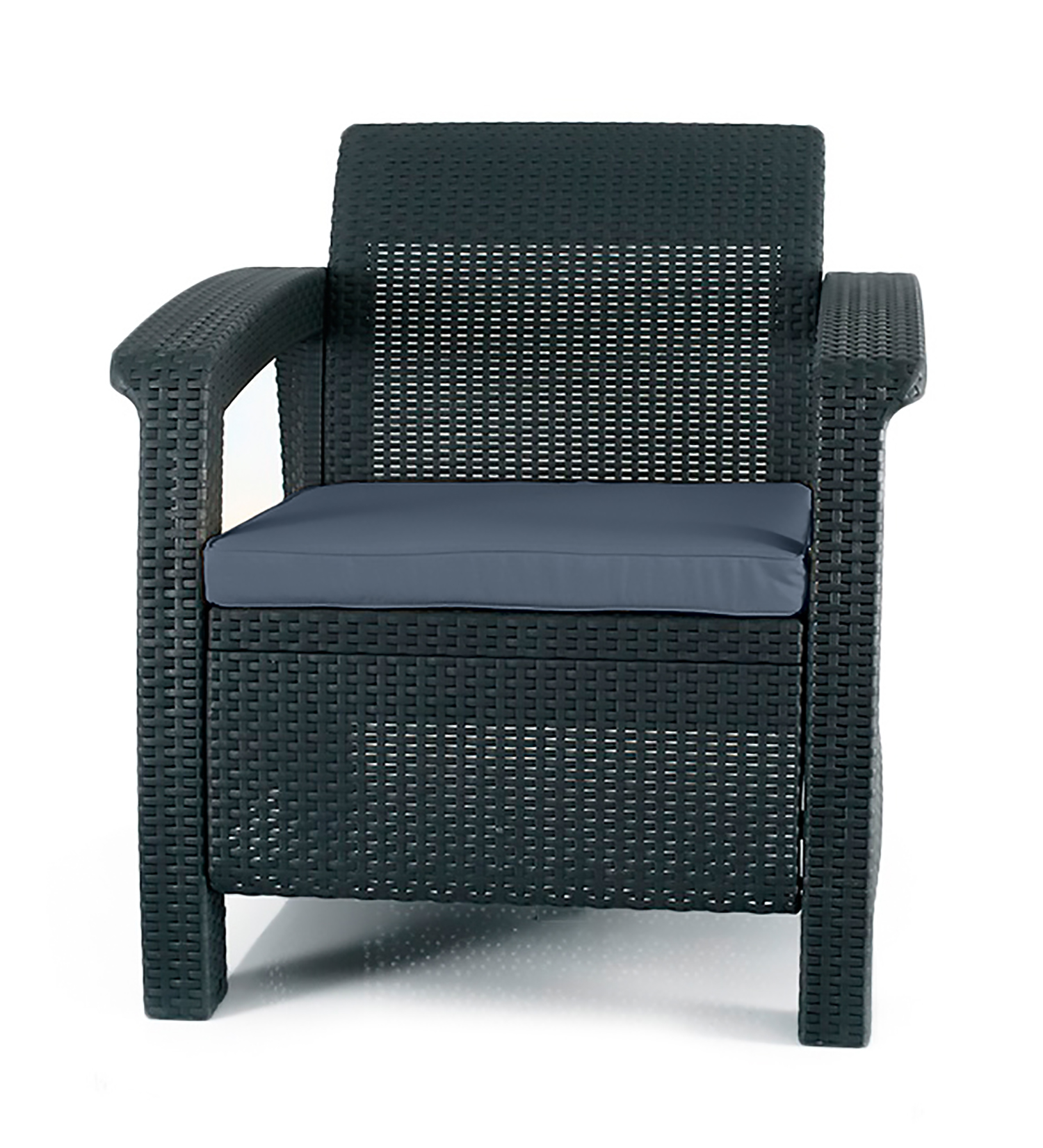 Keter Corfu Resin Armchair with Cushions, All-Weather Plastic Patio Furniture, Charcoal Gray Rattan