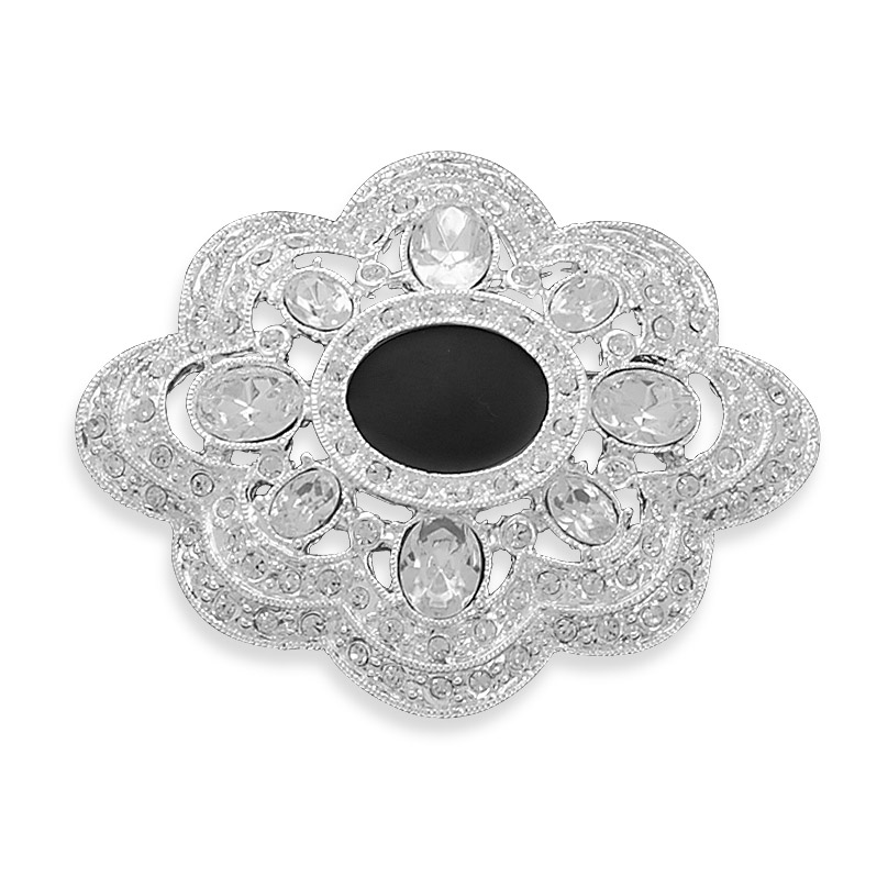 Plated Base Metal Ornate Fashion Pin Clear Crystal Oval 15mm X 12mm Black Epoxy Center by