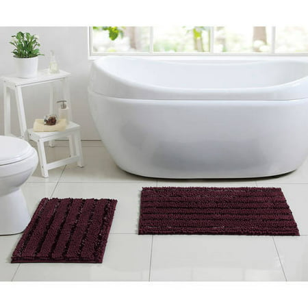 Better homes and gardens chenille noodle 2 piece bath rug set for Better homes and gardens bathroom rugs